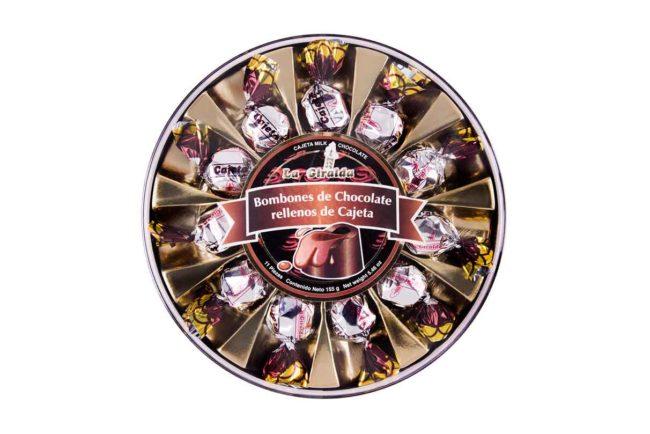 Chocolates en Estuche Redondo Cajeta 11 piezas La Giralda